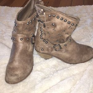 Light brown studded ankle boots